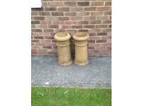 Two old Chimney Pot Planters for garden