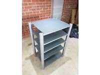 Silver and grey glass hifi stand / table