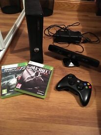 Xbox 360 with Kinect 1 controller and 2 game