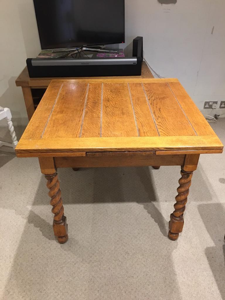 Vintage Oak Extending Dining Table Barley Twist Leg In Currie