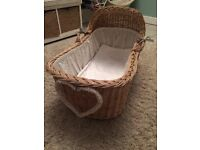 Beautiful traditional wicker Moses basket