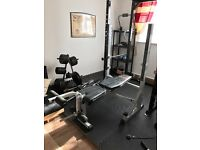 York B540 Weight bench with built in leg curl & squat rack