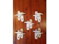 5 pairs of ORIGINAL WHITE BAKELITE INTERIOR DOOR HANDLES