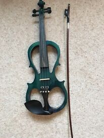 FOR SALE AS NEW VALENTINO VV-110 ELECTRIC VIOLIN WITH CASE COLOUR GREEN