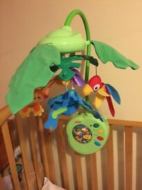 """Fisher Price Rainforest leaves """"peek a boo"""" cot mobile"""