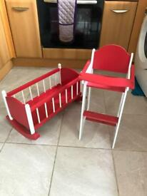 Dolls Wooden High Chair and Cot Toys