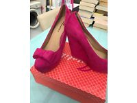 Fuchsia wedge shoes