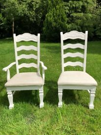 Set of 6 White Painted Kitchen Dining Chairs, Upholstered and Carved, Ideal Shabby Chic Project