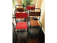 4 Vintage Tubular Stacking Chairs