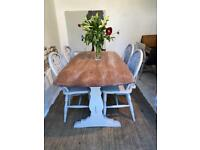 Vintage Ercol Refectory Kitchen Dining Table And Chairs Refurbished