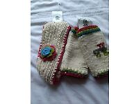 PACHAMAMA 100% pure wool cream / multi headband & finger-less mittens child - new with tags