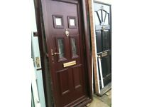 Upvc door with frosted double glazed glass and frame (front of panel cracked)