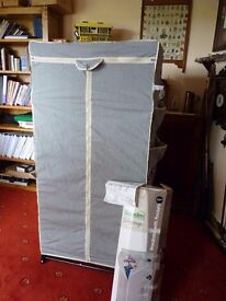 Dunelm grey fabric Storage Wardrobe with side pockets