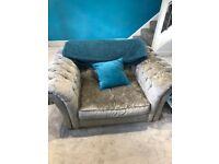 Harveys Winslet Sofa 3pc, Love Seat And Pouffe Crushed Velvet Grey