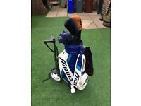 Full set of golf clubs. Mizuno irons, Taylor Made driver, leather bag. 30+ balls (incl Titleist)