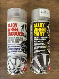 Alloy wheel silver paint and lacquer
