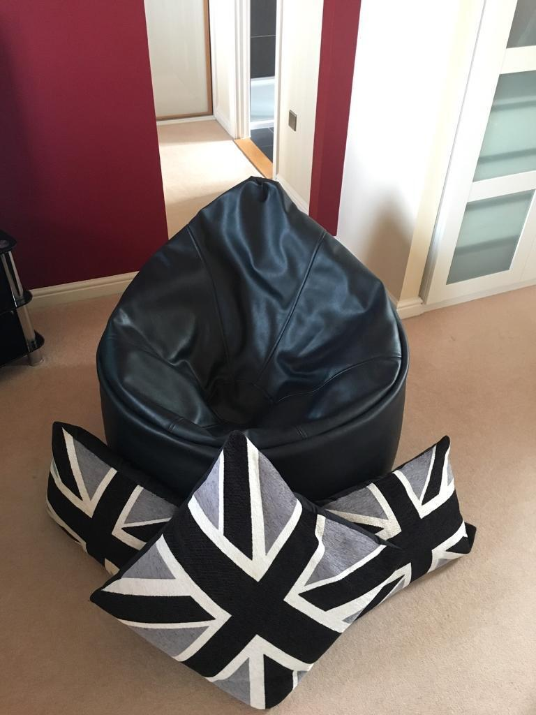 Large Black Faux Leather Beanbag Chair Contemporary Cushions