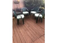 4 green garden chairs with padded seat cushions £20