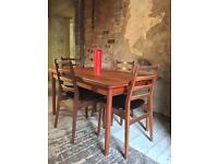 Vintage teak Danish table and chairs