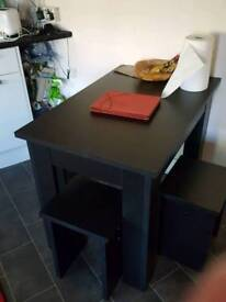 Table + 4 stools (black, wooden)