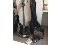 Bass Guitar + 15W Amp + Bag + Spare Strings + Picks + Strap (everything you need!)