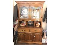 Real Wood Oak Display Cabinet with Spotlights