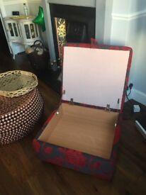 Big DFS storage footstool slate grey/red in VGC