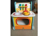 Wooden activity kitchen walker