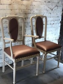Pistachio and Brown Leather Dining Chair, Side Chairs, Arm Chairs, Pewter Studs, Ivory Trim