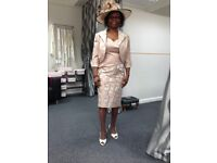 ladys [zeila collection} mother of bride outfit size 42 includes hat, bag & shoes size 33.
