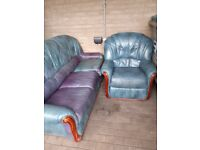 Leather sofa bed and recliner chair