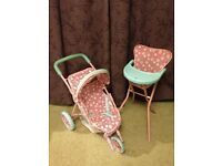 Toy push chair and high chair