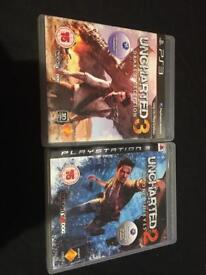 Uncharted 2 among thieves and uncharted 3 Drakes's deception for ps3