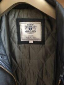 mens savatini blacker leather zip jacket size L