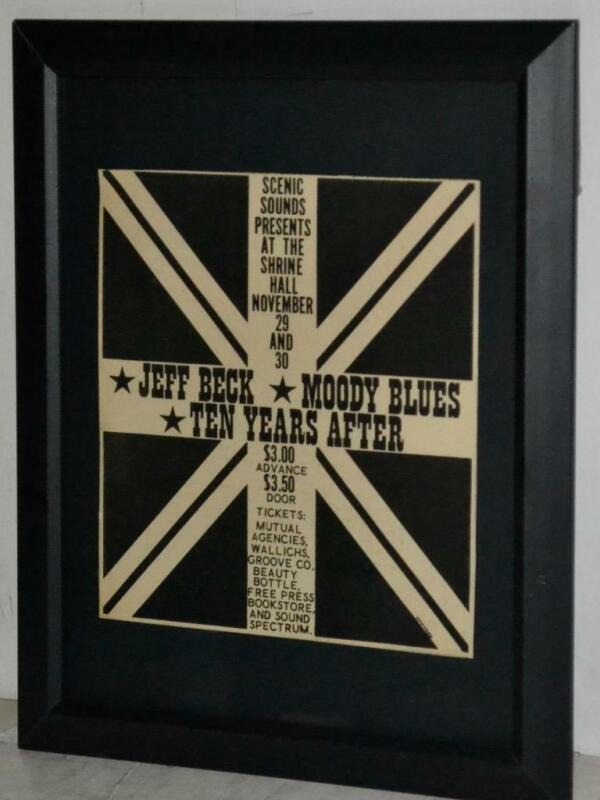 JEFF BECK MOODY BLUES 1968 TEN YEARS AFTER SHRINE HALL FRAMED PROMO CONCERT AD