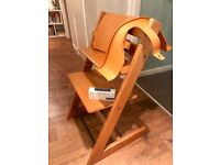 Stokke Tripp Trapp convertible high chair cherry wood with baby set