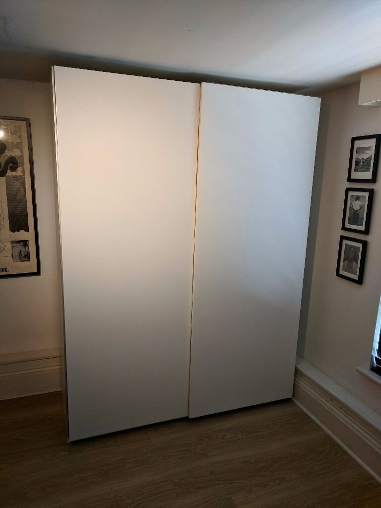 2 x ikea pax double wardrobe white hasvik sliding doors 5 drawers two rails trouser hanging. Black Bedroom Furniture Sets. Home Design Ideas