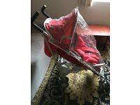 Chicco red pushchair with footmuff and rain over excellent condition