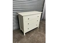 FREE DELIVERI IKEA HEMNES WHITE STAIN CHEST OF THREE DRAWERS WITH GOOD CONDITION
