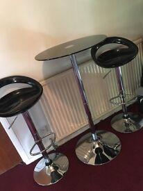 Black and silver bar table and 2 bar stools