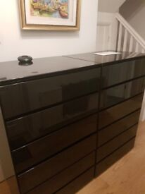 Chest of Draws - 'Feather & Black' High Quality - Black Lacquer -2 matching excellent condition