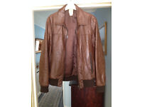 Mens Brown leather Topman jacket for sale size Medium.