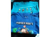 Boys minecraft t/shirts x2