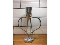 John Lewis silver amore heart champagne glasses on stand