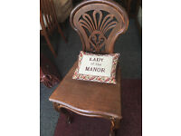 Beautiful Antique Dutch Decorative Carved Oak Hall Occasional Chair