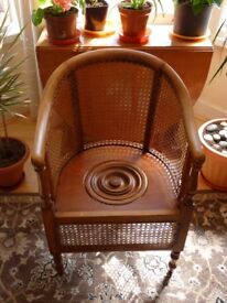 Rattan & wood commode chair . minus pot