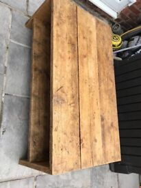 Rustic coffee table made from scaffold boards