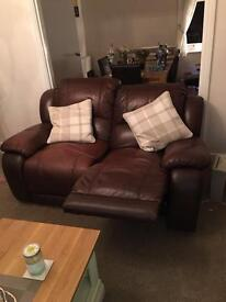 2 x 2 seater sofas brown leather recliners £200