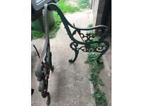 Cast iron garden bench ends lion finials