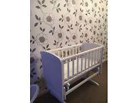 Mothercare deluxe gliding crib white
